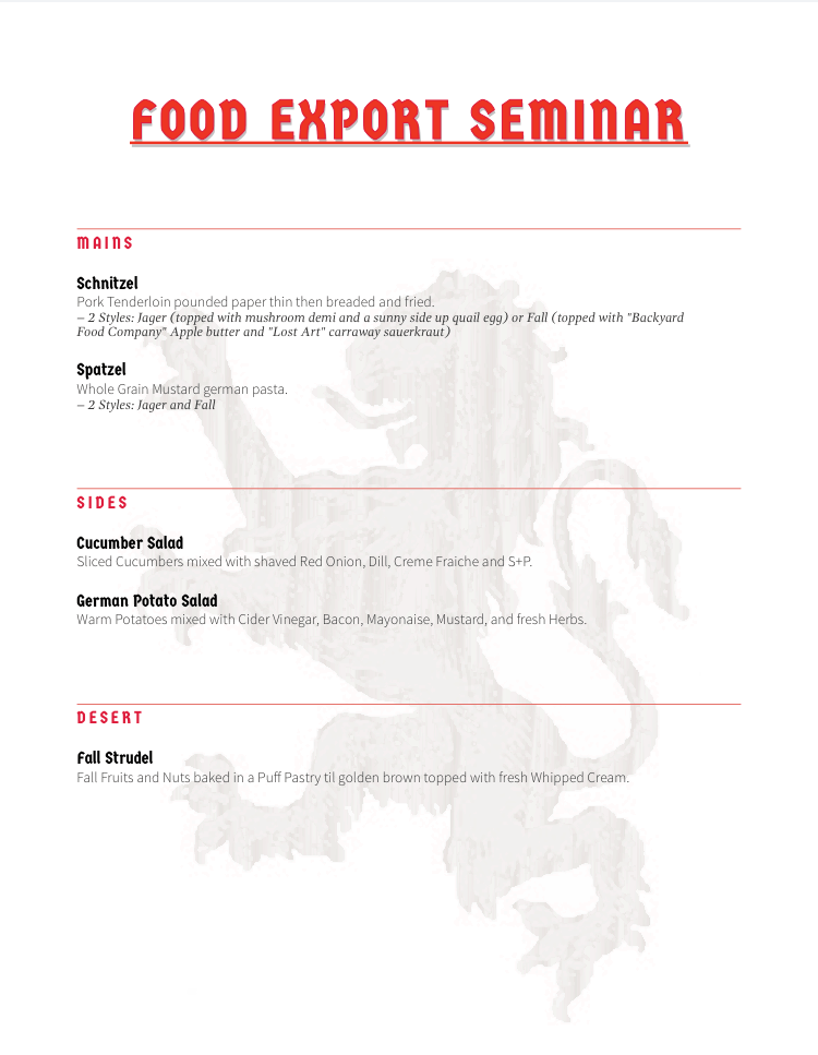 Food Export Seminar Winter 2016