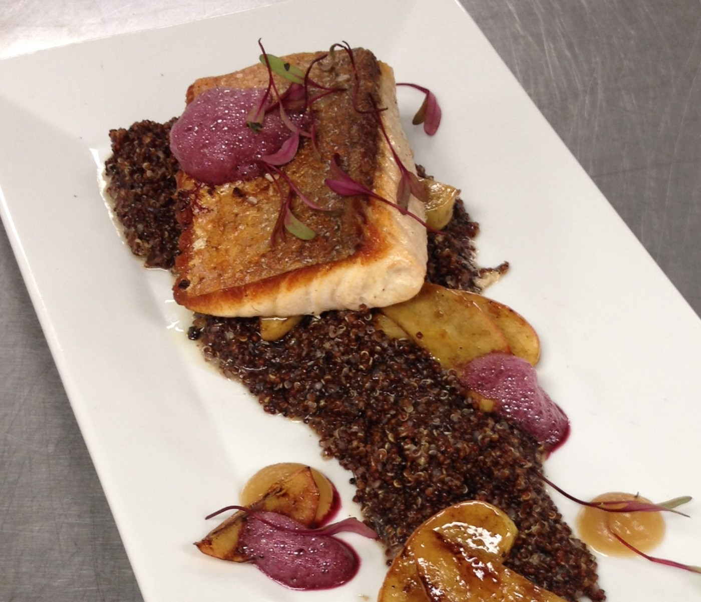 Salmon, Red Quinoa, Chianti Emulsion